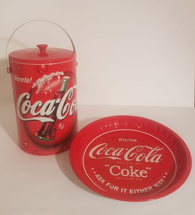 Coca-Cola plate and ice bucket