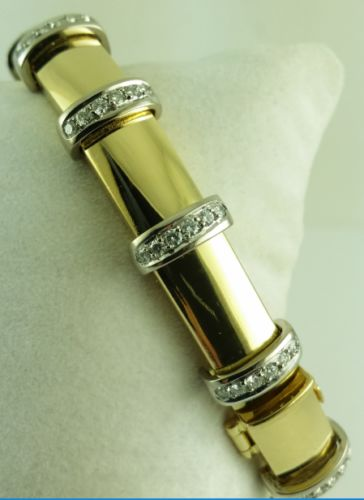Brilliant bracelet – 750 yellow gold + white gold – 72 x diamond – brilliant cut – 1.44 ct.