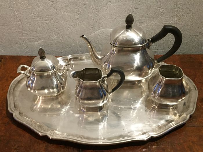 Art deco silver plated tea coffee set .