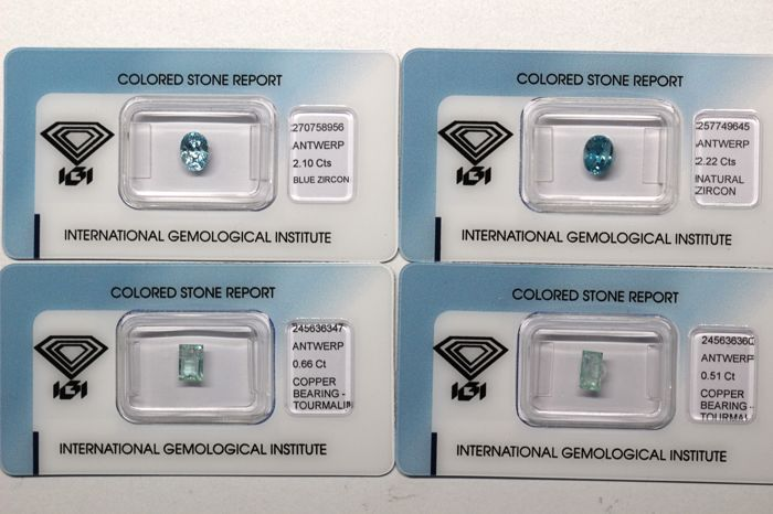Lot of 4 Gemstones, Zircons and Paraiba Tourmaline of a total 5.49 ct