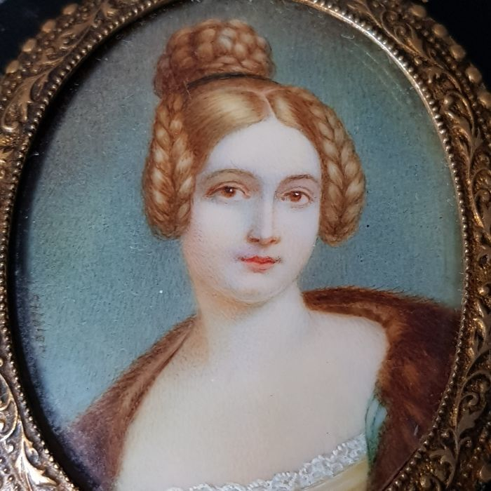 N. Steiler - portrait miniature of Caroline von Holnstein (May 8th 1815 – July 24th 1859, Fronberg/Schwandorf)