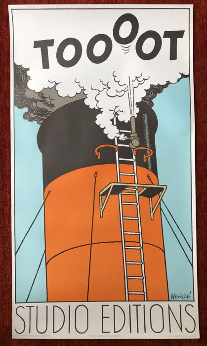 Tintin - Affiche lithographique 'TOOOT'  - (1980)