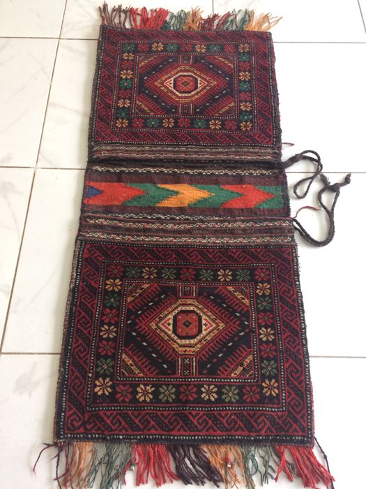 Antique Persian Khorjin Camel Donkey Double Saddlebag Pair Woven rug and kilim