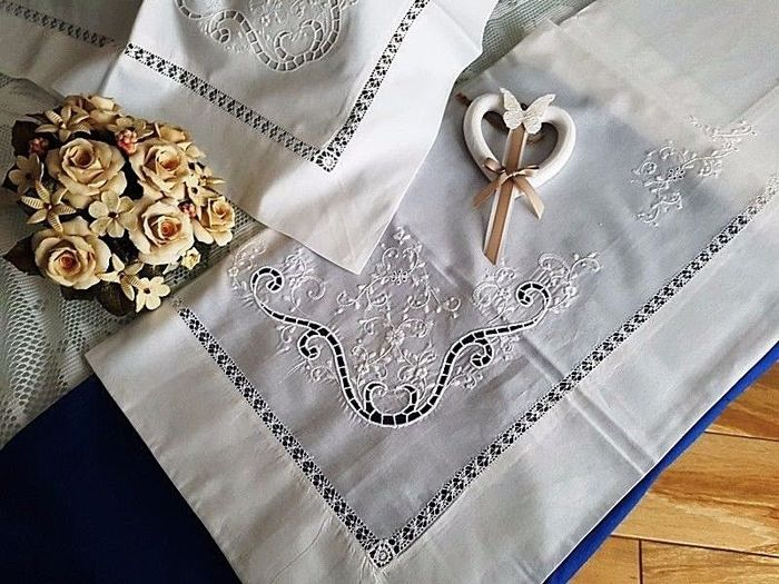 Rich pure percale cotton sheet with handmade cutwork and satin stitch embroidery