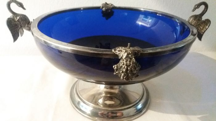 Centrepiece - Empire Era - Silver plated alpaca and cobalt blue glass. 19th century