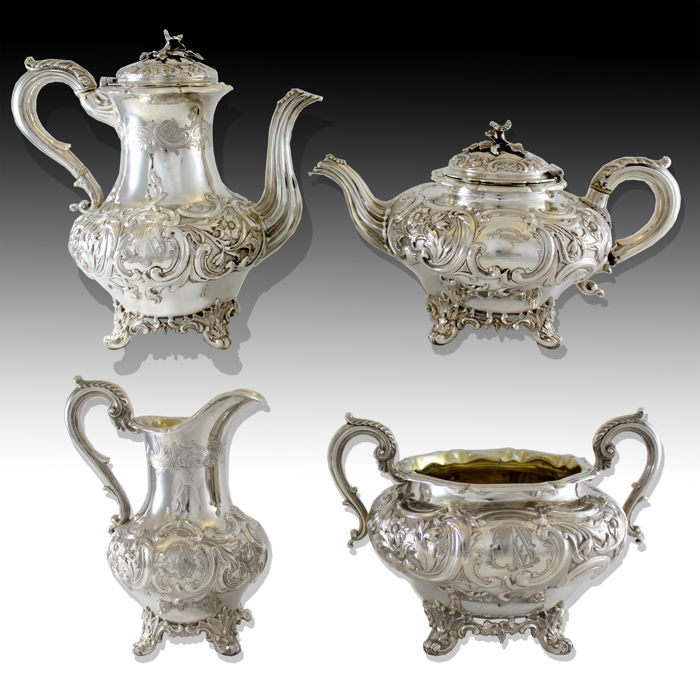 Victorian sterling silver tea/coffee service set, By J Wrangham & William Moulson, London 1840.
