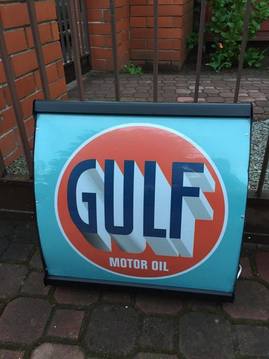 GULF MOTOR OIL  lightbox - Vintage illuminated advertising sign - Garage / Man cave lamp