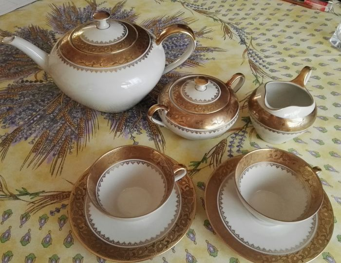 Bayreuther Bavaria - 2-person tea set in pure gold