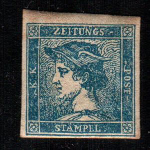 Lombardy Venetia 1855 - (3 cent) light blue, newspaper stamp - Sassone no. 3