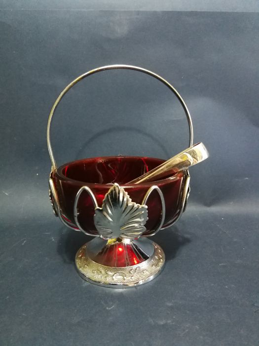 Old silver plated sugar bowl with vine leaves - ruby red inset and tongs for sugar - Walker & Hall