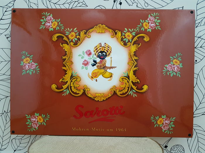 Limited edition Sarotti (Sarotti chocolate 'blackamoor') enamel sign, advertising