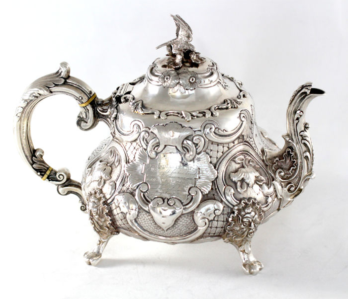 Victorian Silver Louis Style Tea Pot with initials, by Thomas Smily, London 1861
