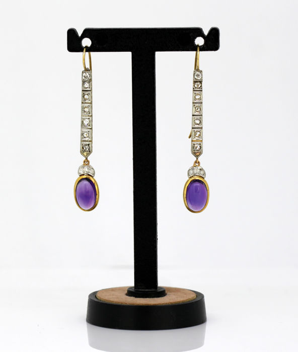 French 18K gold & platinum ladies earrings with diamonds & amethyst