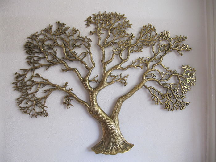 Very large brass wall tree sculpture