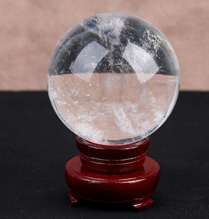 Quartz Rock Crystal rainbow sphere ball reiki healing-90 x 90 mm - 850 gm