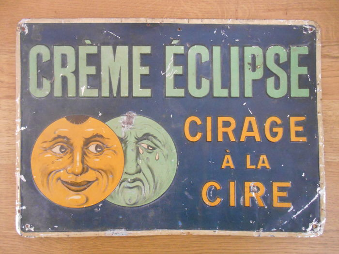 Metal advertising sign of Crème Eclipse from the 1940s