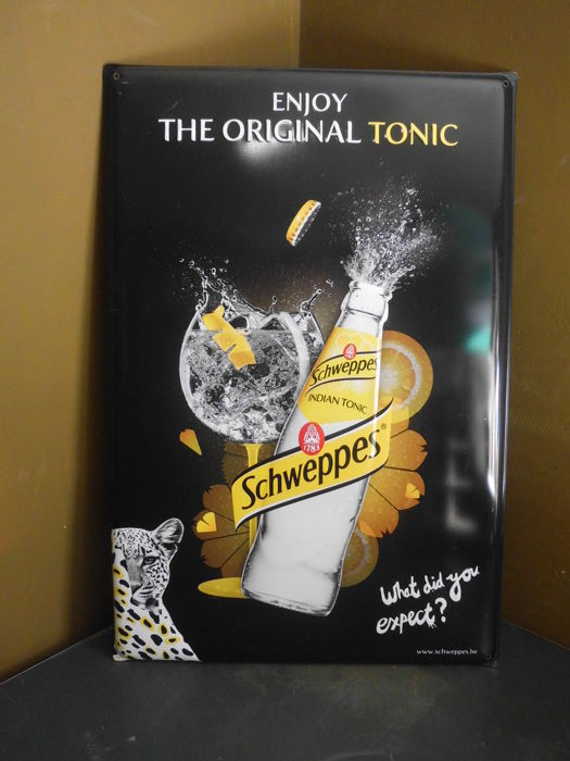 Nice large tin advertising sign Schweppes
