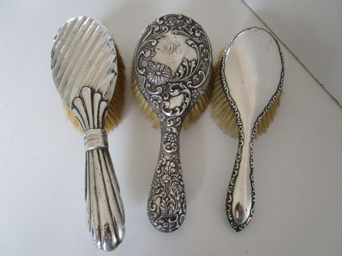 3 Silver Hair Brushes, Birmingham 1891, 1919, Chester 1908, England