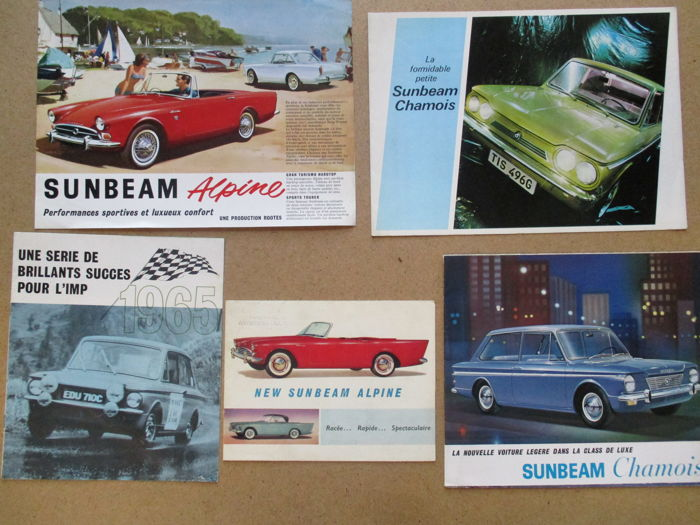 SUNBEAM ALPINE, CHAMOIS, IMP - lot of 5 brochures