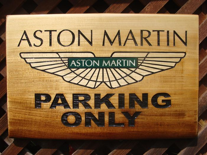 Aston Martin PARKING ONLY  Large unique handmade sculpting logo made from wood - 38,5 cm x 58,5 cm