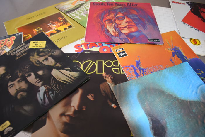 Nice lot of 13 Seventies Rock albums The Doors,Zappa,Pink Floyd, Genesis, Deep Purple,Stray, Ten Years After, CCR.....