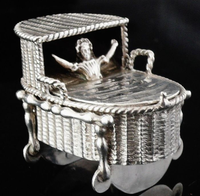 Novelty Antique Dutch Silver Snuff Box, Child in Crib, c.1880