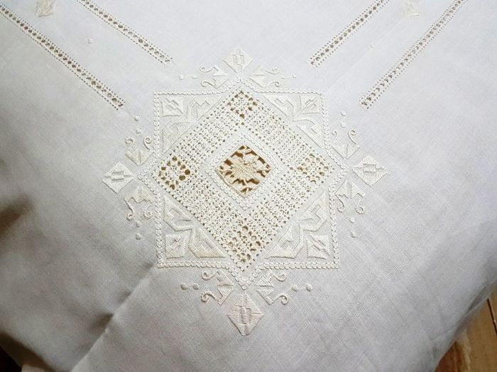 Pure linen bedspread embroidery Needlepoint handmade - Linen - After 2000