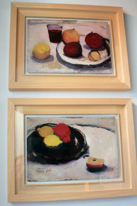Cesare Aliverti (1914-1999) - Still Life, lot of 2 paintings
