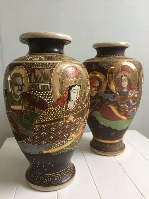 Two Satsuma Vases One Marked Kinkozan Asano Zo