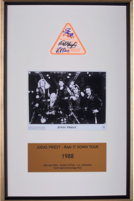 Judas Priest - hand Signed framed backstage pass