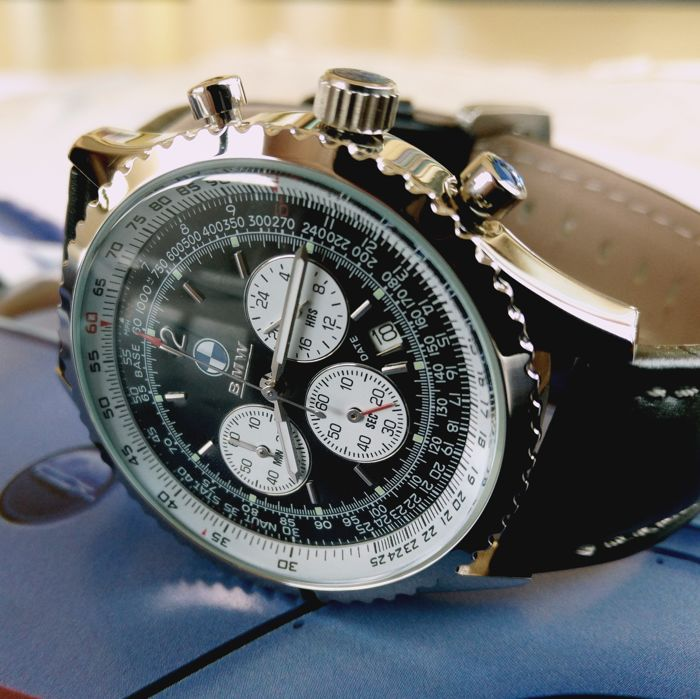Very nice BMW NAVYTIMER Style Chronograph. Wrist Chrono for drivers and co-pilots. Jumbo size.