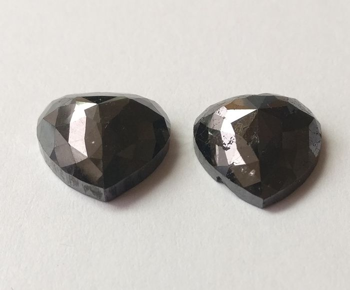 Couple of 2 Heart  Rose  cut diamond total 14.71 ct Fancy Black *** Low  Reserve ***