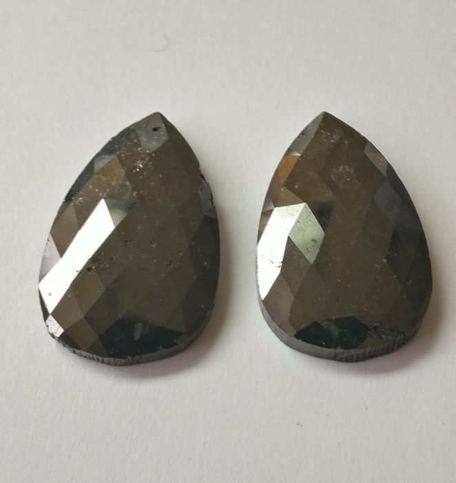 Couple of 2 Pear Rose  cut diamond total 48.24  ct Fancy Black *** Low  Reserve ***