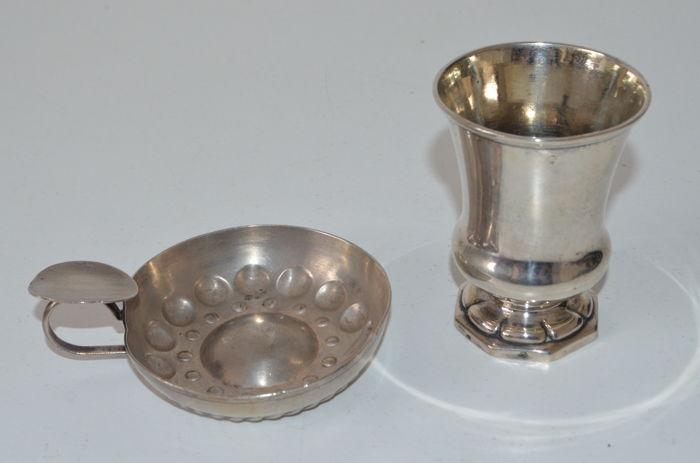 Silver birth Cup (Austria) and silver plated wine-tasting dish (France)