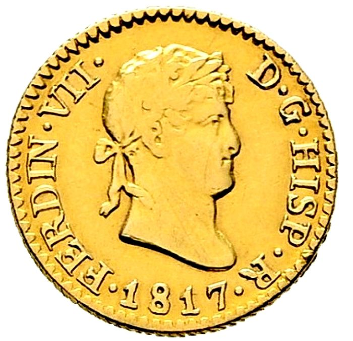 Spain - Fernando VII (1808 - 1833) 1/2 gold escudo 1817 - Madrid G. J.