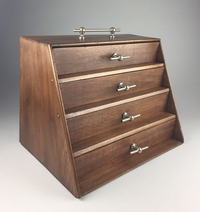 Walnut chest of drawers with brass handles, France, circa 1920