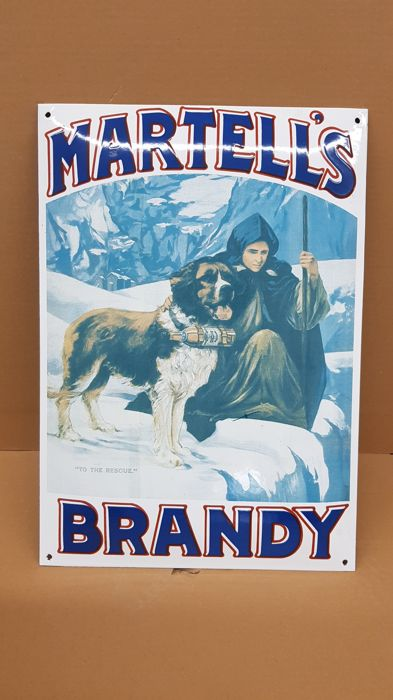 Martell's brandy enamel sign