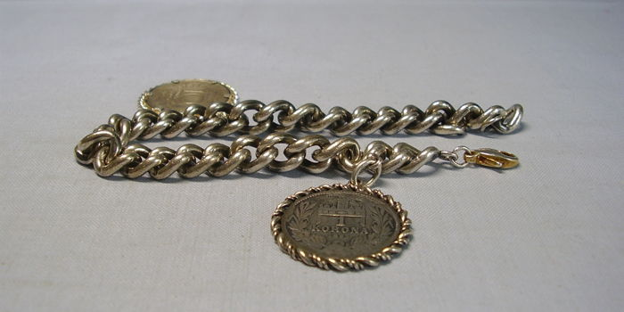 Antique, heavy, historical silver bracelet with silver coins from 1895 and 1925