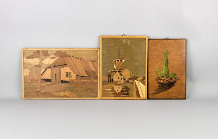 Three panels with intarsia of various types of wood, still life images - the Netherlands - circa 1930