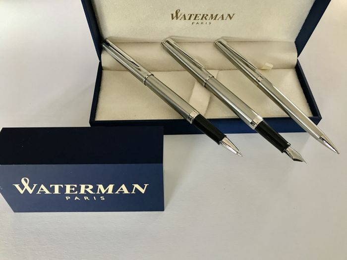 Waterman brushed steel fountain pen, mechanical pencil, rollerball pen Never Used.