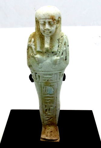 Ancient Egyptian Faience Ushabti Figure with T Inscription for a priest - 125mm