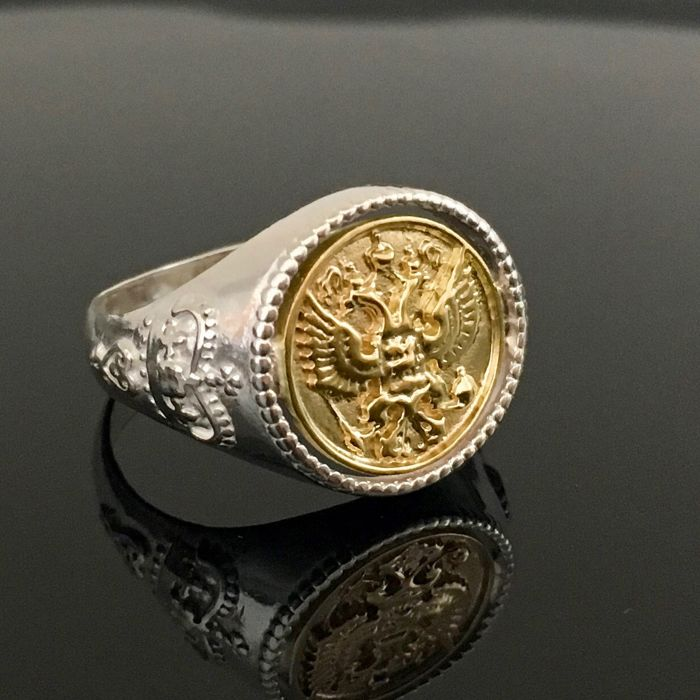 925 Silver & 14kt Solid Gold men's freemason ring - size 10