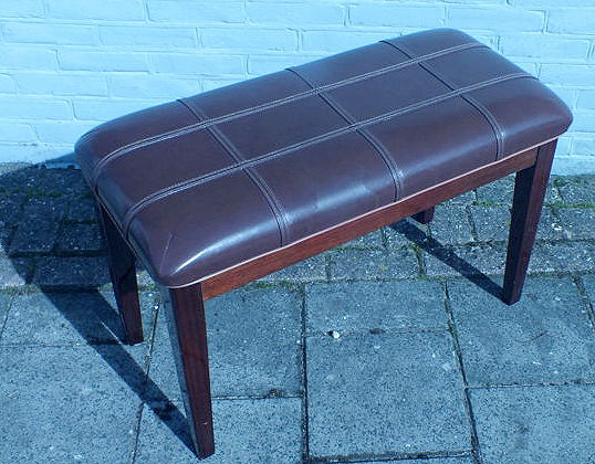 Vintage piano stool wood / leather. Dutch, 1970s