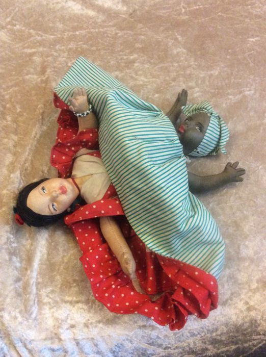 Topsy - Turvy, 2 fabric dolls in one, made around 1920