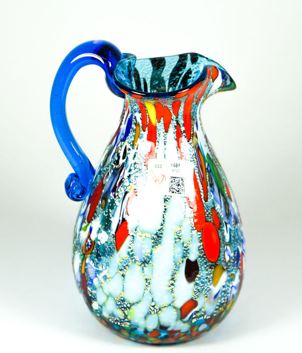 Imperio Rossi (Murano) - Aquamarine Murrina and Silver pitcher