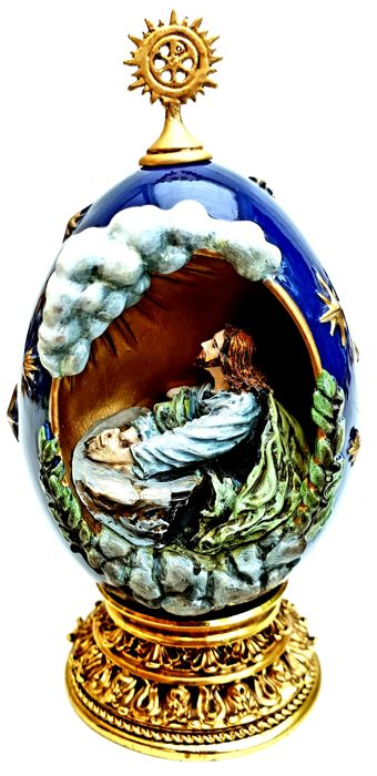 "House of Faberge - Religious Holy Egg ""The Agony In The Garden"" - Complete with 24 carat gold"