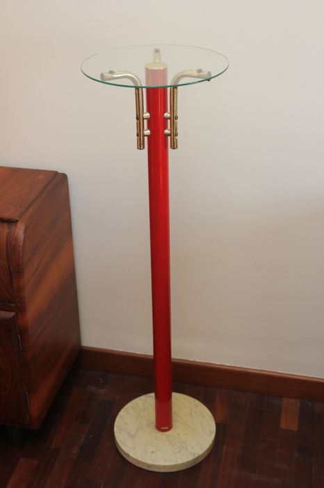Enamelled steel riser with glass surface and Carrara marble base, Italy, 1970