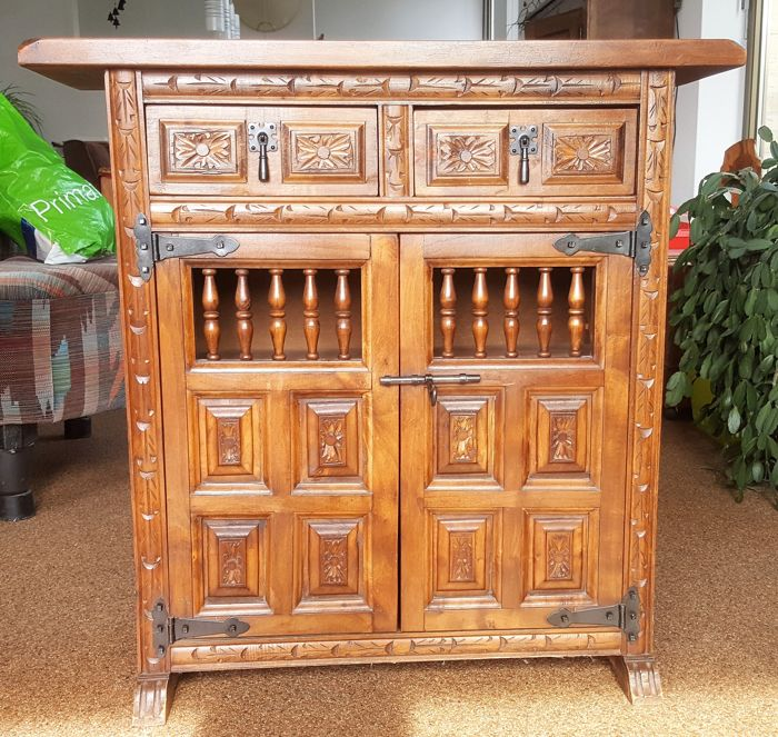 Richly decorated vintage wooden cabinet, second half 20th century