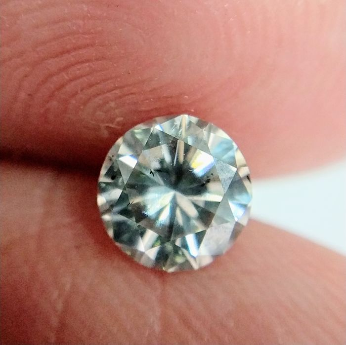0.57 Carat Natural Diamond Fancy Light Gray SI2 Round Brilliant GIA Certificate included