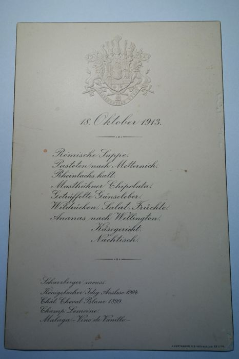 Menu - seating and coach allocation for the inauguration of the international battle monument in Leipzig with Kaiser Wilhelm II, the Saxon King Friedrich August III and esteemed guests on 18.10.1913.